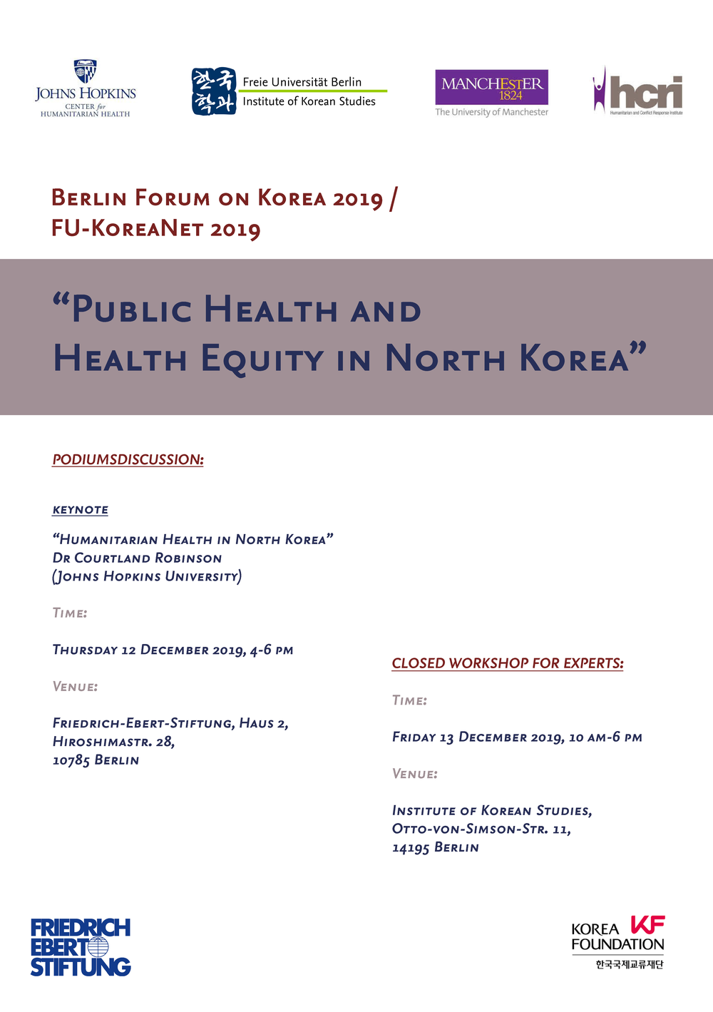 Berlin Forum on Korea 2019 / FU-KoreaNET 2019
