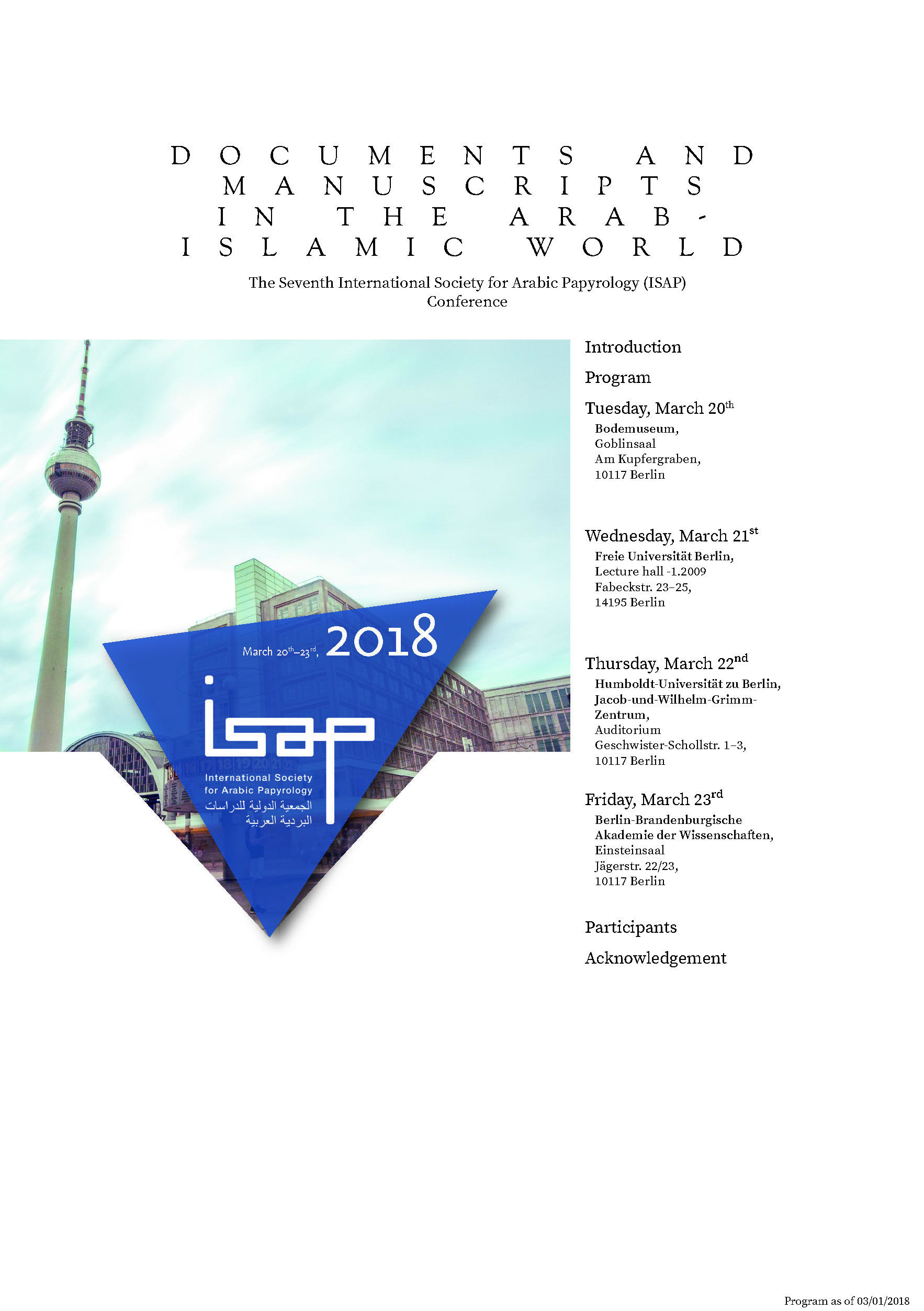 ISAP VII Conference @ FU Berlin • Arabic Studies • Department of