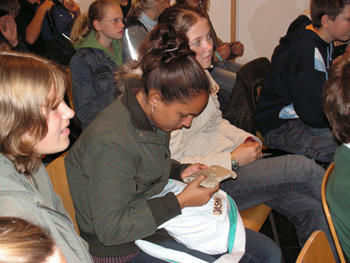 Students from the Goethe Gymnasium learn to write their first cuneiform